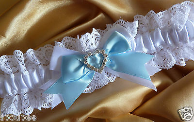 Wedding Garter Lace And Satin White And Something Blue Crystal Diamante Heart