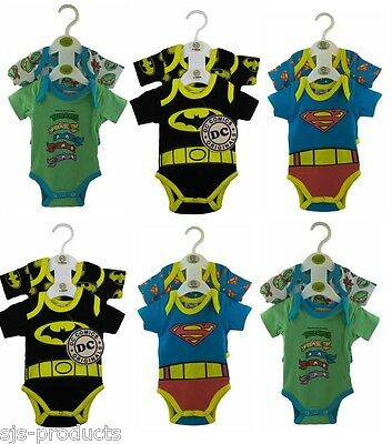 2 PACK 100% Cotton BABY BOY Novelty Character Babygrow Vest Grow Bodysuit 0-9mth