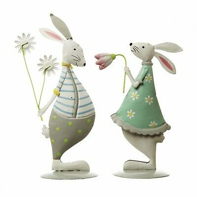 Easter Bunny Decoration Ornament Boy Girl Metal Cute Rabbit Spring Blue Green