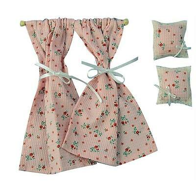 12th Scale Pink Curtain & Cushion Set For Dolls House D1071