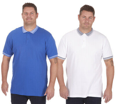 Mens Plus King Size Tipped Polo Shirt T-Shirt Top Short Sleeve 100% Cotton New