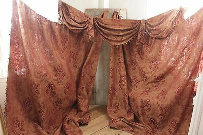 Antique 1890 Curtain Valance Ruffle 2 curtains French Rust floral Arts & Crafts