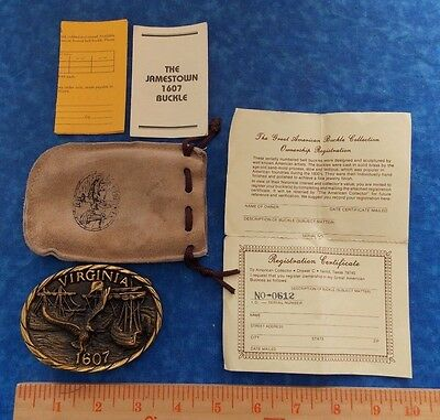 Virginia Solid Brass 1607 Heritage Mint Belt Buckle In Leather Pouch With Papers