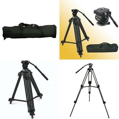 Video Camare Professional Camcorder Tripod Fluid Drag Head Kit Set Heavy New
