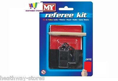 Football Referee Kit Whistle Red Yellow Cards Ref Game Score Pocket Set Rugby