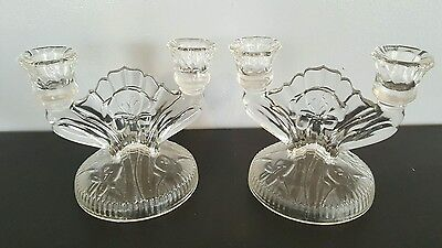 Vintage Pair of Clear Glass Art Deco Beautiful Candelabras CandleStick Holders F