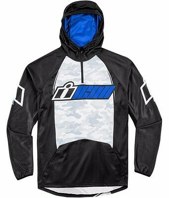 New Icon Blue Single Stack Hoody Street Stunt Cbr Gsxr R1 R6 Ninja All Sizes