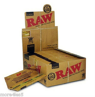 RAW Classic King Size Slim Natural Unrefined Rolling Papers 50 Booklets Box New