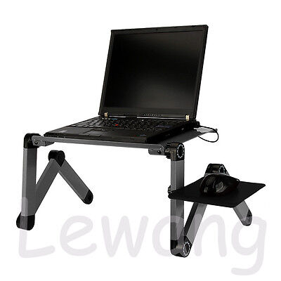 Adjustable Foldable Portable Aluminum Laptop Table Mouse Tray Cooling Fan Grey