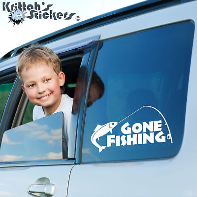 Gone Fishing Pole with Fish Vinyl Decal - fits car laptop window sticker K003