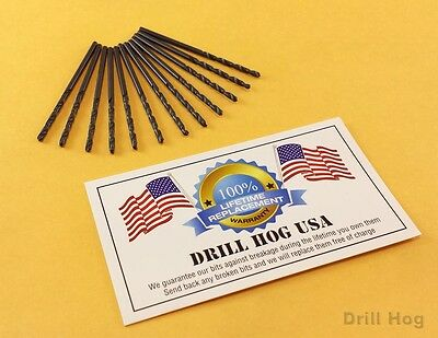 Drill Hog USA #31 Drill Bit Number Bit #31 MOLY M7 Lifetime Warranty 12 Pack
