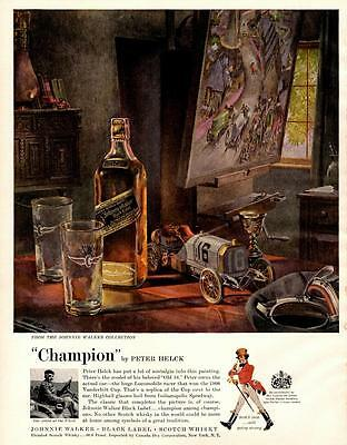 1960: Johnnie Walker-Black Label-Scotch Whisky-Peter Helck- Antique Vtg Ad Print