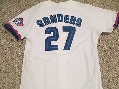 1999 Game Used Worn Blue Jays Home White size 48 Sanders #27 Maple Leaf patch