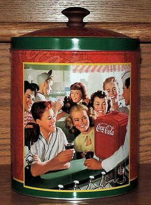 "NOS COCA-COLA 8.5""h WOOD HANDLE BISCUIT/SNACK/COOKIE TIN CANISTER - SODA JERK"