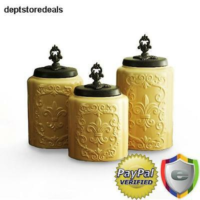YELLOW CANISTER SET Canisters Kitchen Containers Food ...