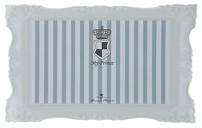 My Prince Dog Cat Place Mat Non-Slip Grey & White Striped Crown Design