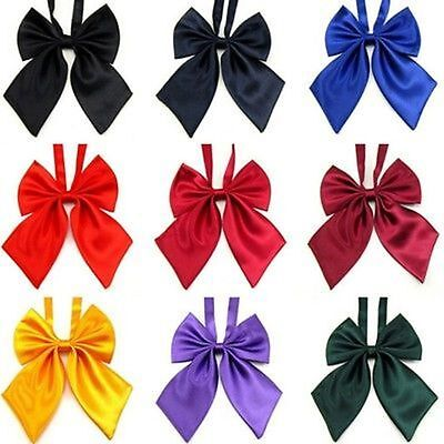 Womens Girls New Fashion Party Banquet Solid Color Adjustable Bow Tie Necktie