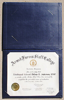 US Armed Forces Staff College Diploma w/ Cassette