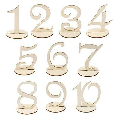 Wooden Wedding Table Numbers 1-10 Stick Set With Base For Birthday Party