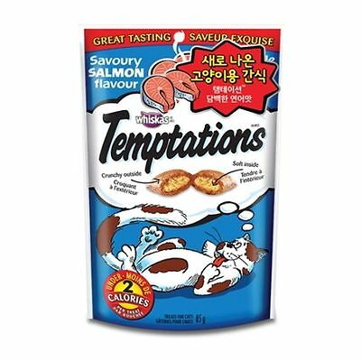 Whiskas Temptations Treats for Cats 1 Pack of Savoury Salmon 85g