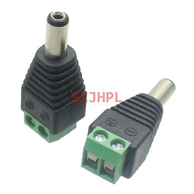 2pcs Connector 5.5mmx2.1mm male plug DC Power for CCTV video balun Terminals