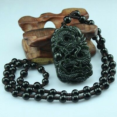 Natural Chinese jade hand-carved  Dragon And bead pendant With bead necklace -Q1