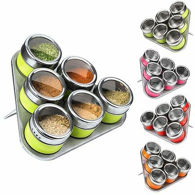 6 Spice Jars With Magnetic Tray Stand Herbs Storage Canisters Stainless Steel