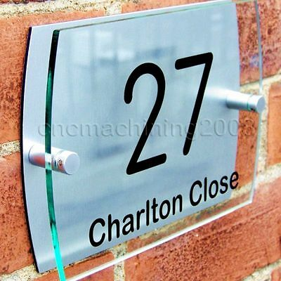 Modern House Number Plaque Door Sign Street Road Name Glass Acrylic Chrome A015
