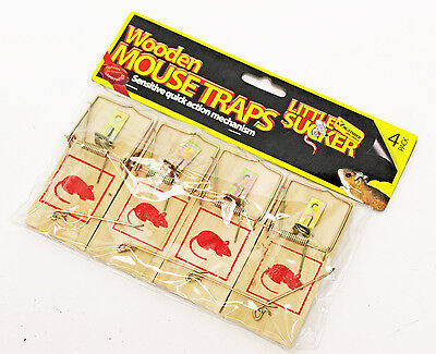 4 Pack Traditional Wooden Mouse Traps, Rodent Mousetrap Bait, Pest3