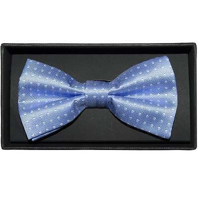 Hand Made Light Blue And White Polka Dot Mens Bow Tie