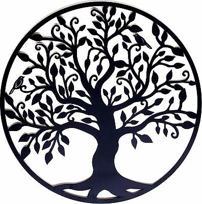 Black Tree of Life Metal Hanging Wall Art *99 cm Round Sculpture Home Garden BIG