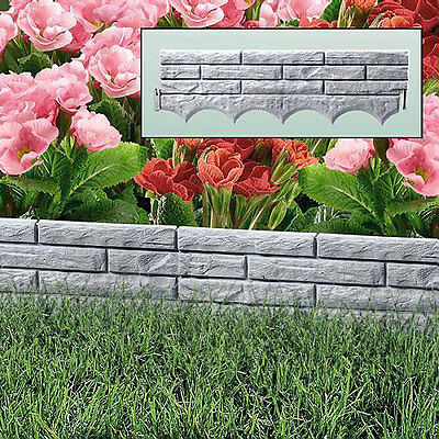 Grey Brick Wall Garden Border Plastic Lawn Edging Flower Bed Grass Path Liner