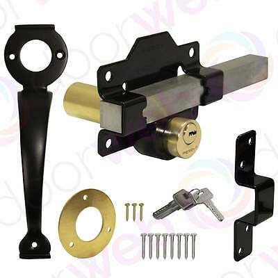 GATE DOOR LOCK Cays Pull Handle Double Locking Long Throw Bar KEYED DIFFERENT