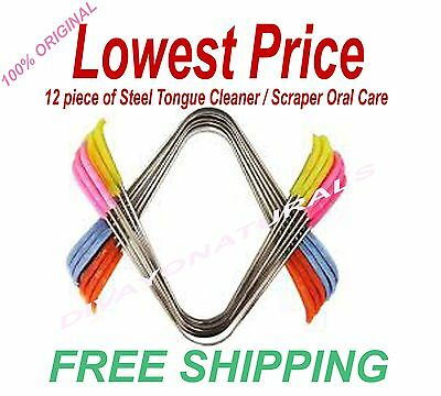 12 piece of steel tongue cleaner / screper oral care