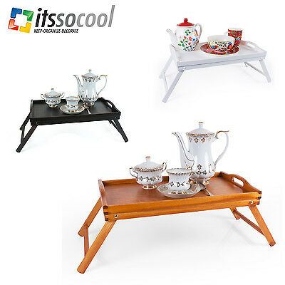 Bed Serving Wooden Tray Breakfast Table Laptop Desk Foldable Legs Light 5 Colors