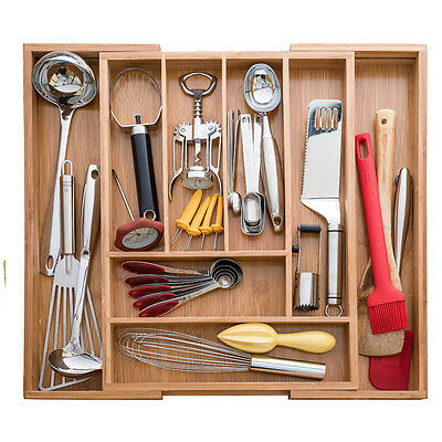 Expandable Adjustable  Kitchen Bamboo Cutlery Utensil Organizer Tray