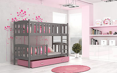 Bunk Bed  Wooden Childrens Solid Pine Frame With Basic Foam Mattresses 1 Drawer