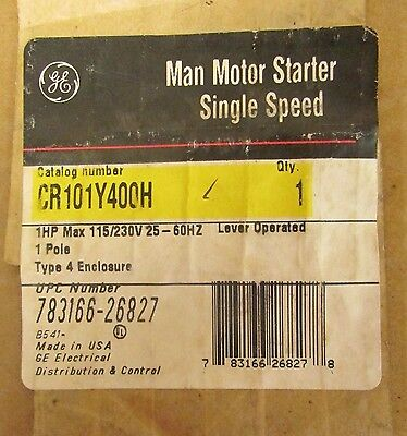 GENERAL ELECTRIC GE Type 4 Manual Motor Starter 1HP 115/230V CR101Y400H