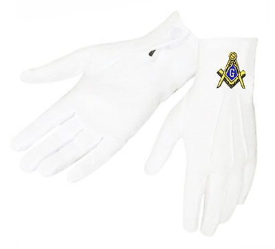 MASONIC GLOVES - EMBROIDERED LOGO on WHITE NYLON - ONE SIZE FITS MOST..MD to XL