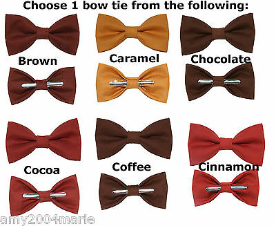 Browns - Choose 1 Clip On Cotton Bow Tie - Choose Men or Boys