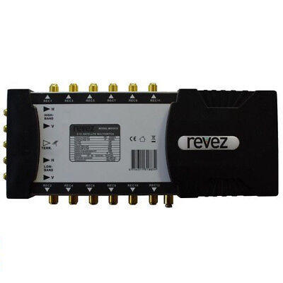Revez Mains Powered 5x12 Satellite Terrestrial Multiswitch Quattro LNB 5in 12out