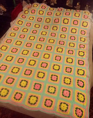 "Granny Square Afghan Blanket ~ 80"" x 58"" ~ Pink & Yellow 3-D Flowers + Blue Trim"