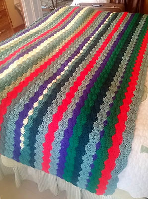 "Crochet Afghan Blanket ~ 70"" x 40"" ~ Long Way STRIPES: Red/ Green/ Purple/ White"