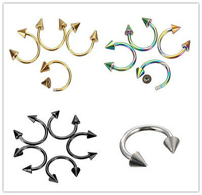 2X Stainless Steel Horseshoe Spike Awl Ring Cartilage Septum Helix Ear Piercing