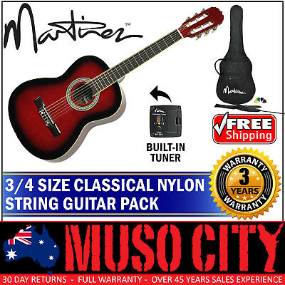 New Martinez 3/4 Size Beginner Classical Nylon String Guitar Pack Tuner (Red)