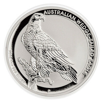 2016 $1 Australia Wedge Tailed Eagle Silver Dollar Mint State GEM BU, In Capsule