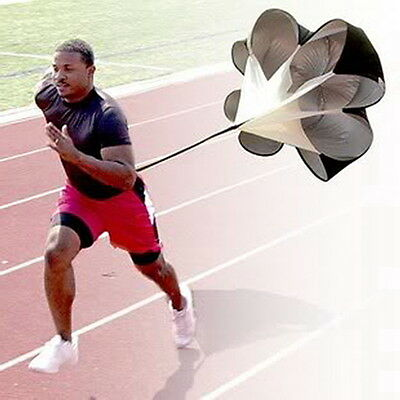 Running Power Chute Speed Training Resistance Exercise Parachute Black DE