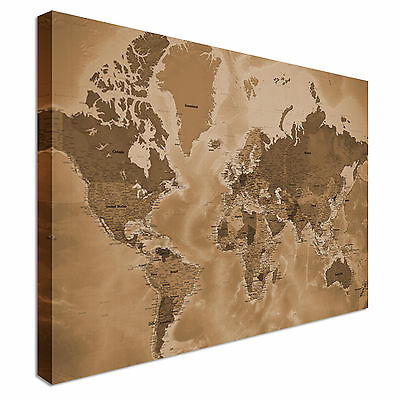 Supersize Detailed Sepia World Map Style Canvas Picture Large+ Any Size