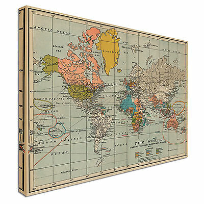 Supersize Vintage World Map World Map Style Canvas Picture Large+ Any Size