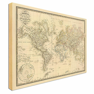 Large Antique Vintage Style World Map Style Canvas Picture Large+ Any Size